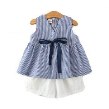 2-piece Bowknot Decor Stripes Sleeveless Top and Shorts for Toddler and Girl