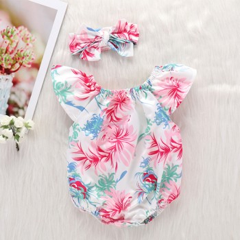 Sweet Floral Short-sleeve Romper and Headband Set for Baby Girl