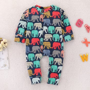 Stylish Elephant Print Long-sleeve Jumpsuit for Baby Boy