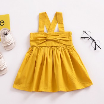 Trendy Solid Bow Decor Strap Dress in Yellow for Baby and Toddler Girl