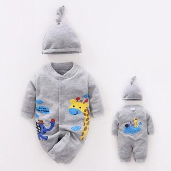2-piece Super Cute Giraffe Printed Jumpsuit and Hat Set for Babies