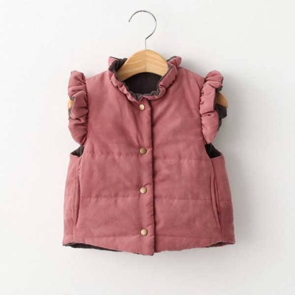 sweet ruffled buttonfront vest for little girls