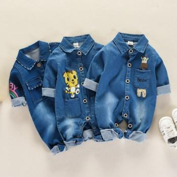 Adorable Animal Print Denim Shirt One Piece for Baby