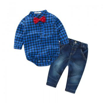 Handsome Plaid Shirt Bodysuit and Jeans Set for Baby Boy