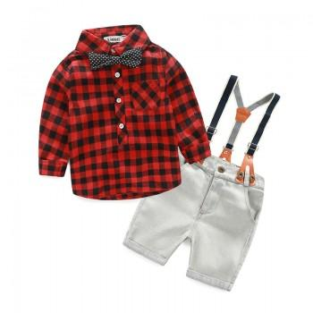 Stylish Plaid Polo Shirt and Overall Shorts Set for Toddler Boy/Boy
