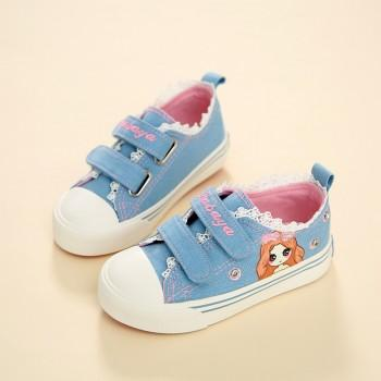 Sweet Girl Print Lace Velcro Canvas Shoes for Girls
