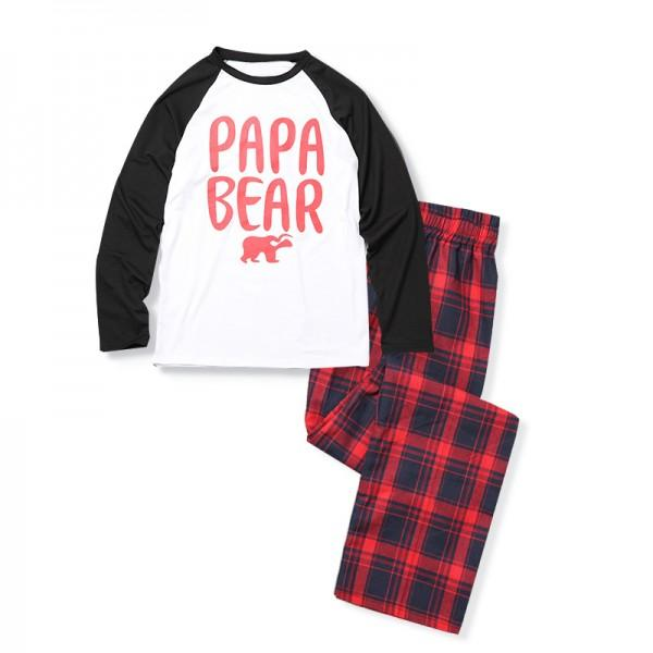 2-piece Bear Print Family Matching Contrast T-shirt and Plaid Pants Set