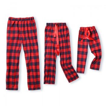 christmas red plaid ribbon pajama pants for family patpat