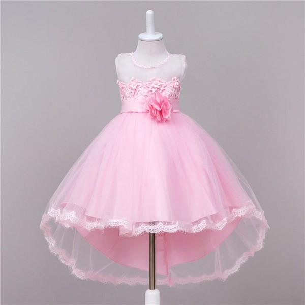 Pretty Lace Flower Sleeveless Mesh Party Dress for Girls