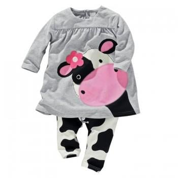 2-piece Cute Cow Long Sleeve Top and Pants Set in Light Grey for Baby Girls
