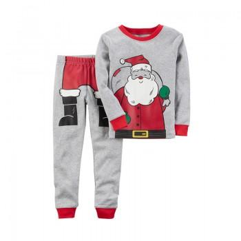 Christmas Santa Claus Print Long-sleeve Top and Pants Set for Boys