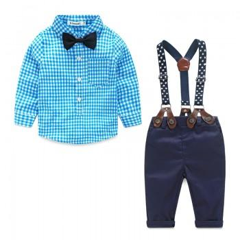 Stylish Plaid Shirt and Suspender Trousers Set for Boys