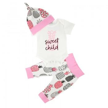 3-piece Baby Girl's 'SWEET CHILD' Pineapple Short-sleeve Bodysuit, Hat and Pants Set in Pink