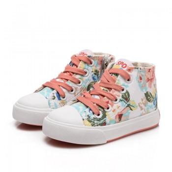 Girl's Pretty Floral Hi-top Canvas Shoes