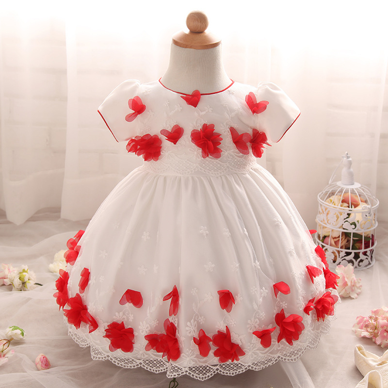 Red Flower Accent A Line Wedding Party Dress For Baby Girls