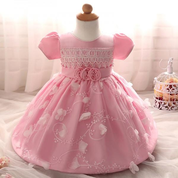 Lace-Detailed Floral A-Line Princess Dress Pink Party Dress for Baby ...