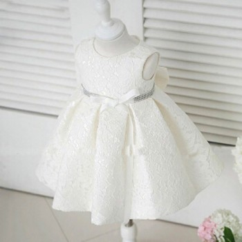 Elegant Lace Belted Dress for Baby and Toddler Girl