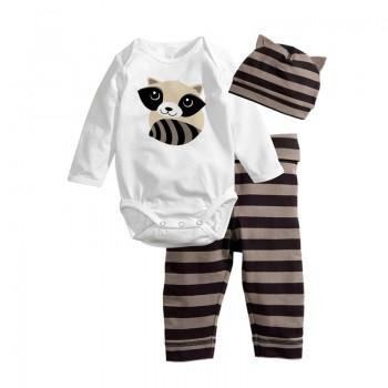 3-piece Lovely Raccoon/Striped Long-sleeve Bodysuit for Baby Unisex