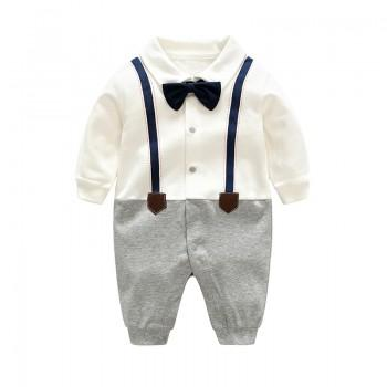Baby Boy's Grace Faux-two Long Sleeve Jumpsuit in White