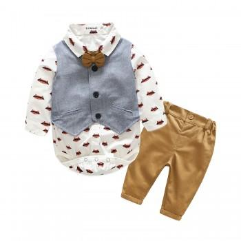 2-piece Printed Fox Top, Solid Vest and Pants for Baby Boy